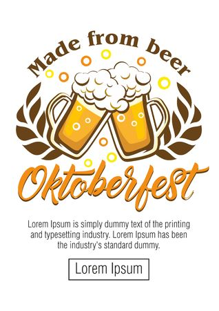 Oktoberfest beer festival - poster, greeting card with beer mugs, wheat ears and slogan