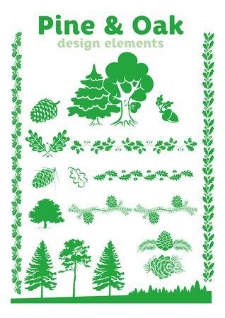 pine and oak design elements - vector illustration for floral ornaments Illustration