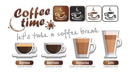 Coffee time set - the appearance of the drink and methods of making coffee. Coffee card, menu, vector