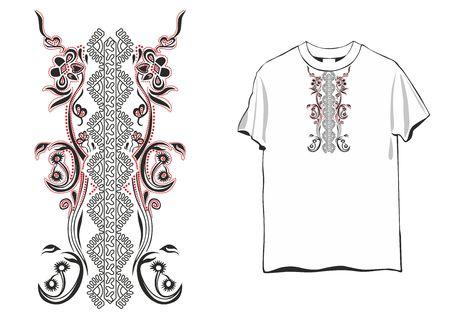 Ornament for women's T-shirt in Celtic style, glitter.Vector design