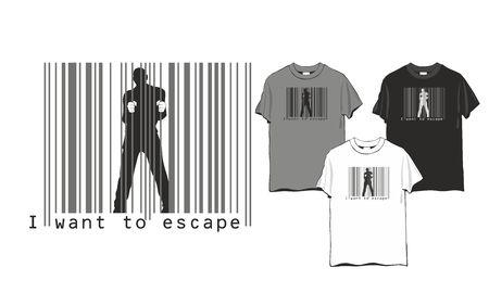barcode escape man - T-shirt abstract design