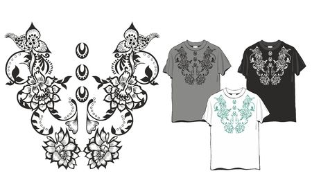 Abstract flower pattern design for the collar T-shirt