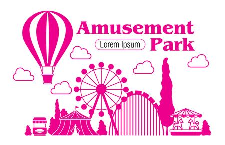 Amusement Park - vector silhouette outline