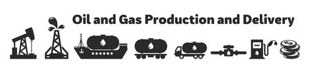 Oil and Gas Production and Delivery icon set