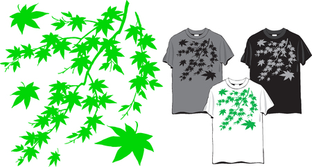 T-shirt floral pattern - maple tree branch with leaves, vector Çizim