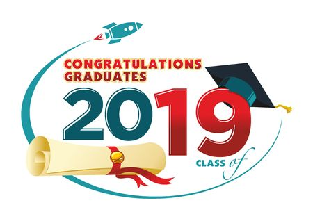 Congratulations graduates card. Vector text for graduation design, congratulation event, party, high school or college graduate. Lettering Class of 2019 for greeting, invitation card - Illustration