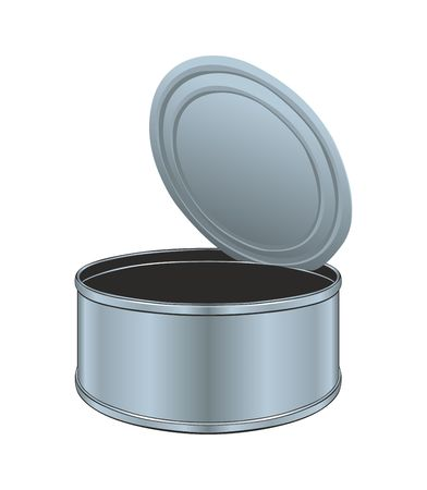 Opened empty metal can. Illustration, vector