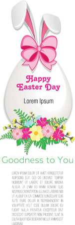 Easter egg in flowers with rabbit ears on white background Illustration