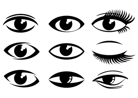 yeux, icônes, ensemble, vecteur, -, illustration, vecteur