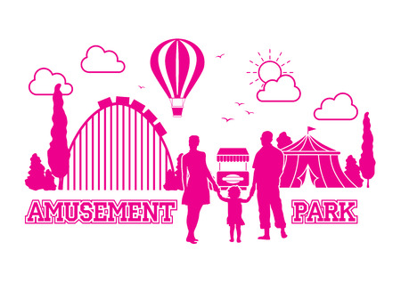 Happy family on holiday in amusement park - vector silhouette outline Illustration