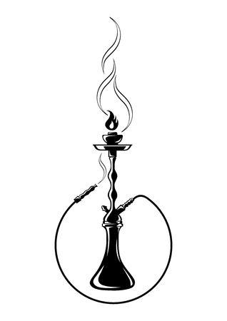Shisha, sagoma nera narghilè. illustrazione vettoriale narghilè Vettoriali