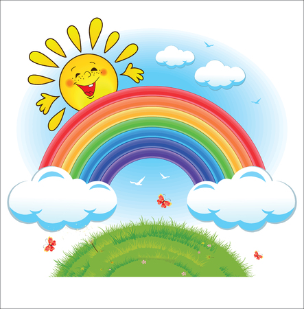 Colorful rainbow with clouds and the sun against the blue sky and green grass. Summer background design concept, vector