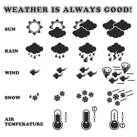 Weather Flat Design Icon Set - IllustrationWeather, Storm, Thermometer, Lightning, Thunderstorm
