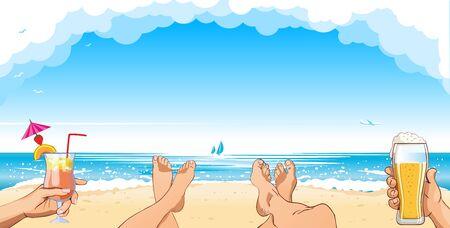 Vacances d'été à la plage. Le couple se détend sur la plage de sable avec un verre à la main. Illustration vectorielle - plage, pieds, cocktail, bière, fond de mer