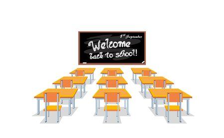 School chalkboard and desks.
