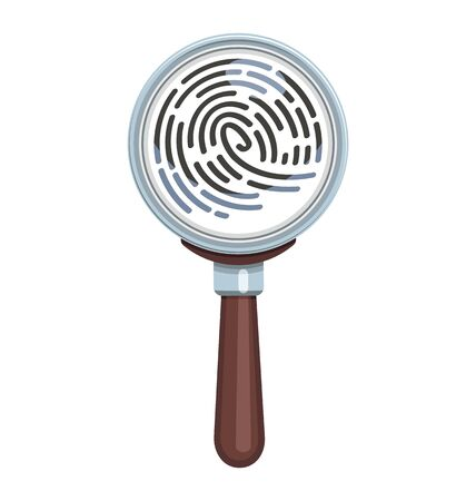 Magnifying glass examines fingerprint. Vector illustration - magnifier, search, security, identification, fingerprint Illustration