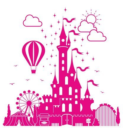 Amusement park. Childrens fairytale entertainment castle on the background of attractions, fireworks, balloon.