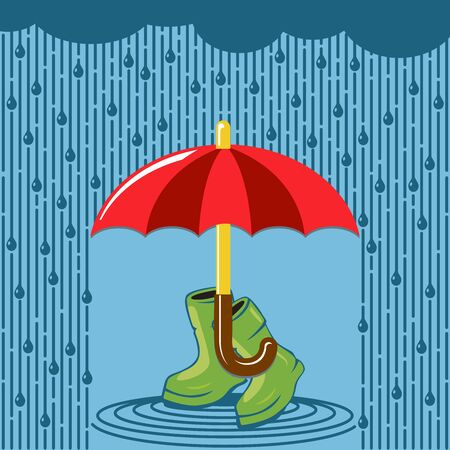 Red open umbrella and rubber boots on blue rain background. Flat design, vector.