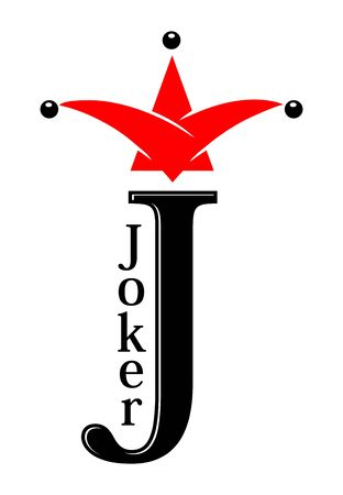 Joker sign. J for Jester, symbol of playing card. Illustration, vector Ilustração