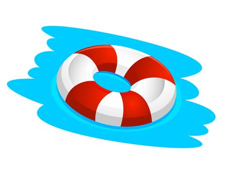 Inflatable red and white lifebuoy on the water. Illustration, vector Çizim