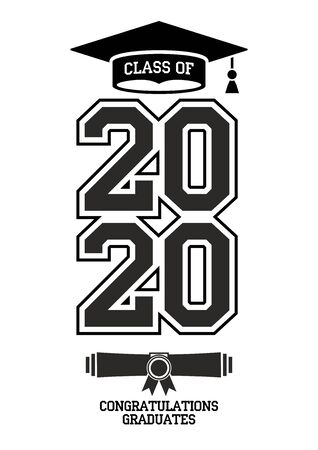 Class of 2020. The concept of design congratulations graduates of the school. Vector card