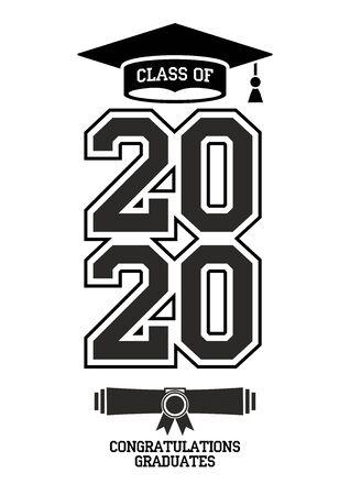 Class of 2020. The concept of design congratulations graduates of the school. Vector card