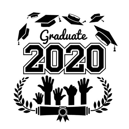 Class of 2020. The concept of design congratulations graduates of the school. Vector