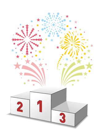Winners podium with festive fireworks. Illustration, vector Çizim