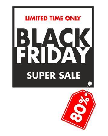 Black friday super sale label. Illustration, vector Vetores