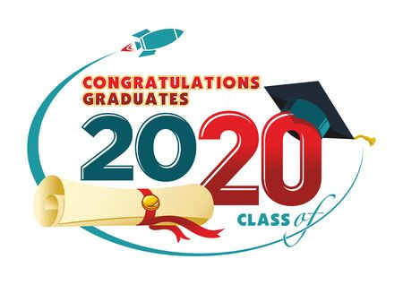 Congratulations graduates card. Vector text for graduation design, congratulation event, party, high school or college graduate. Lettering Class of 2020 for greeting, invitation card - Illustration, vector