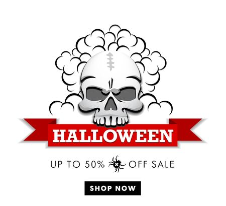 Halloween Sale - Human skull holding banner in his teeth. Buy 50% off shop now. Illustration, web icon, vector