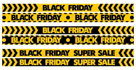 Black Friday Super Sale. Set stripes yellow and black color pattern on ribbon. Illustration, vector