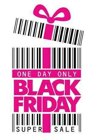 Black friday sticker with real barcode. Sale label concept. Illustration, Vector