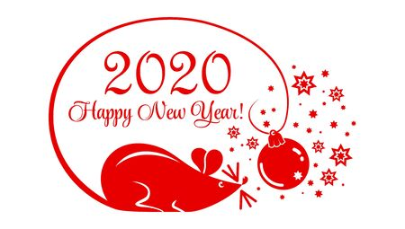 Year of the Rat 2020 greeting card. Cartoon red rat in a circle of 2020 with a Christmas tree toy and stars. New Year on the Chinese calendar. Illustration, vector