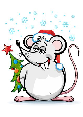 Cheerful fat rat in Santa hat and with Christmas tree - symbol of 2020 New Year. Illustration, vector
