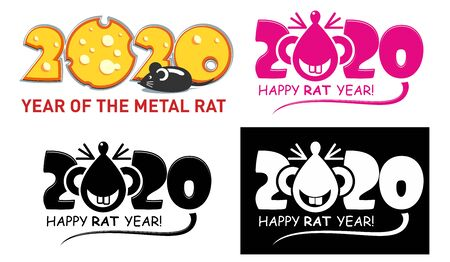 Template of the rat - image of the symbol of the year 2020. A funny rat or mouse with a long tail. Figures number year made of cheese. Illustration, vector