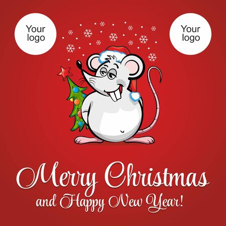 Rat Santa Claus on a red background. Merry Christmas and happy new year! Holiday Greeting Card. Illustration, vector