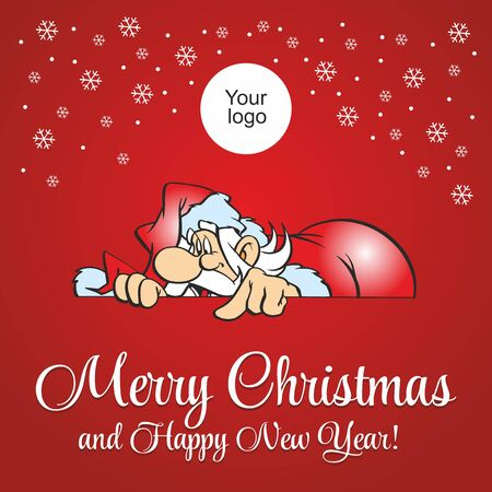 Santa Claus on a red background. Merry Christmas and happy new year! Holiday Greeting Card. Illustration, vector Ilustracja