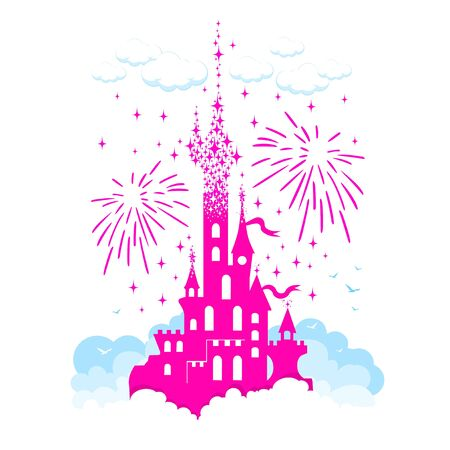Princess Castle. Fantasy pink flying palace in the clouds on the background of fireworks and stars. Fairytale Royal Medieval Paradise Palace. Cartoon vector illustration.