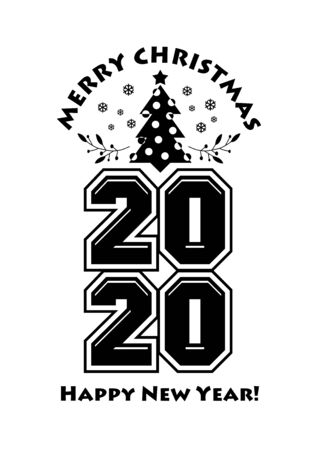 Happy 2020 New Year Greeting Card. Holiday Vector Illustration With Lettering Composition And Christmas Tree.