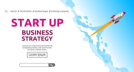 Launching business strategy rocket. Startup concept landing page design. Illustration, vector