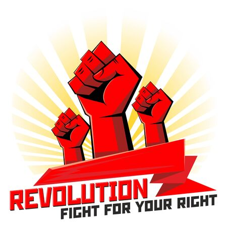 Hands are clenched into strong fists. Revolutionary power icon. Illustration, vector