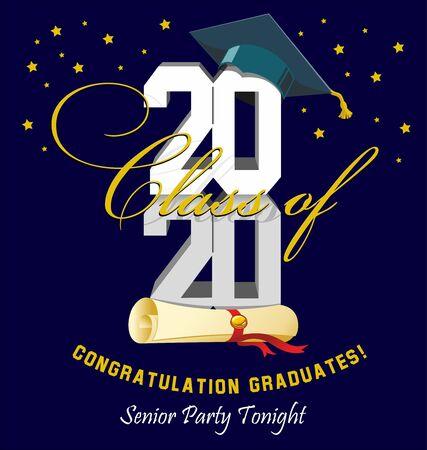 2020 Senior Party Tonight. Graduation ball banner. Vector illustration