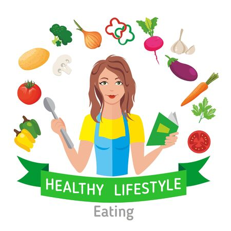 Healthy eating with healthy lifestyle. Housewife with kitchen book and cooker and pictures of vegetables. Illustration, vector