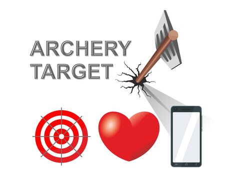 Arrow from a bow pierced the target. Choice of goals - target, heart, smartphone screen. Illustration, vector