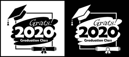 Class of 2020 with Graduation Cap and diploma. Flat simple black and white design. Illustration, vector