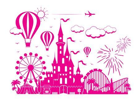 Amusement park. Children's fairytale entertainment castle on the background of attractions, fireworks, balloon. Illustration, vector. Banque d'images - 140908102