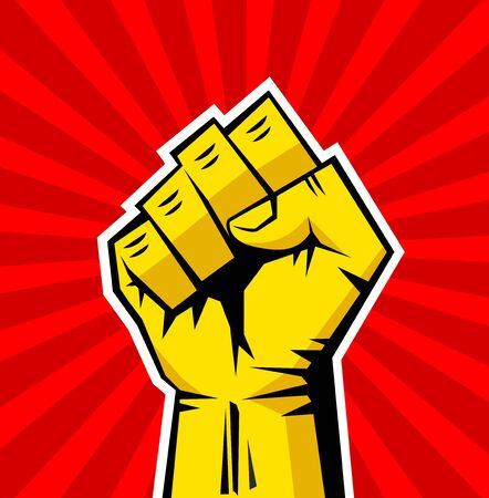 Fist male hand, symbol of the proletarian revolution. Yellow strong fist on red background. Sign of anger, strength, protest, fight. Illustration, vector Vecteurs
