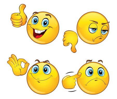 Ensemble de belles émoticônes avec des gestes de la main. Icônes Emoji. Émotions positives et négatives. illustration vectorielle 3D