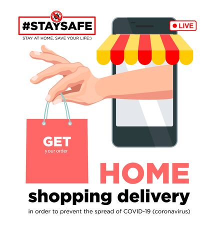 Stay home with your social media campaign and prevent coronavirus infection. Shopping delivery Internet purchases. Social advertising, poster, sticker, vector. Vector Illustration